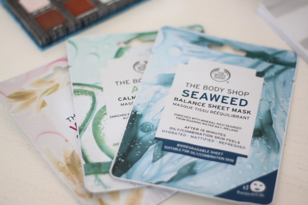 The Vitamin E Quench Sheet Mask; Aloe Calm Sheet Mask and the Seaweed Balance Sheet Mask from The Body Shop that I'm testing out this month.