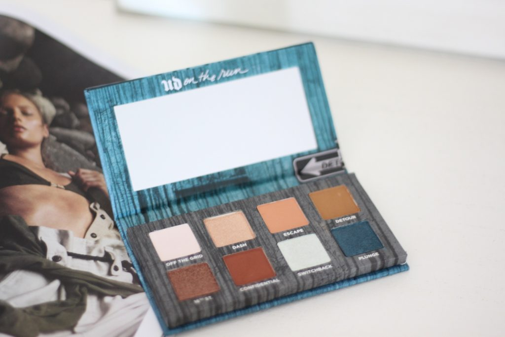 Detour is loaded with sienna-hued neutrals, a deep metallic teal, and an unexpected holographic transformer shade. An Urban Decay palette I received for my birthday this month.