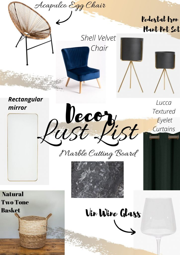 Collage of decor items I'm lusting over at the moment
