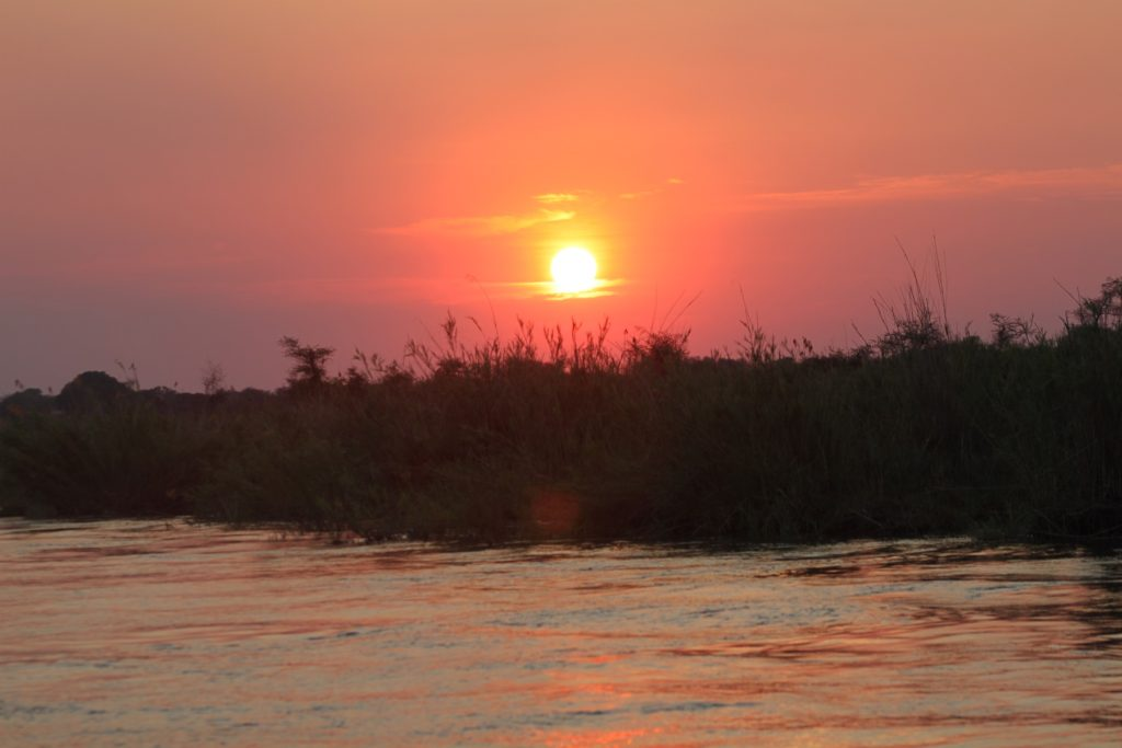 Sunset on the Zambezi in Zambia